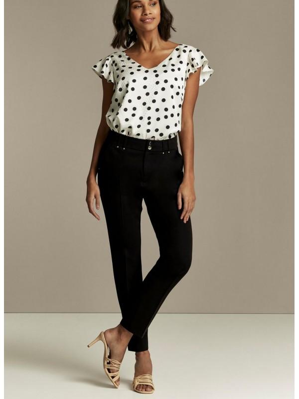 TALL black polka-dot tapered trousers.
