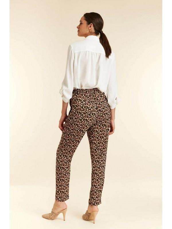 TALL black leopard print light tapered pants.