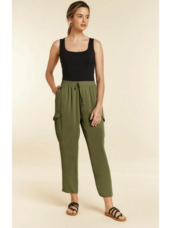 Petite khaki jogging pants