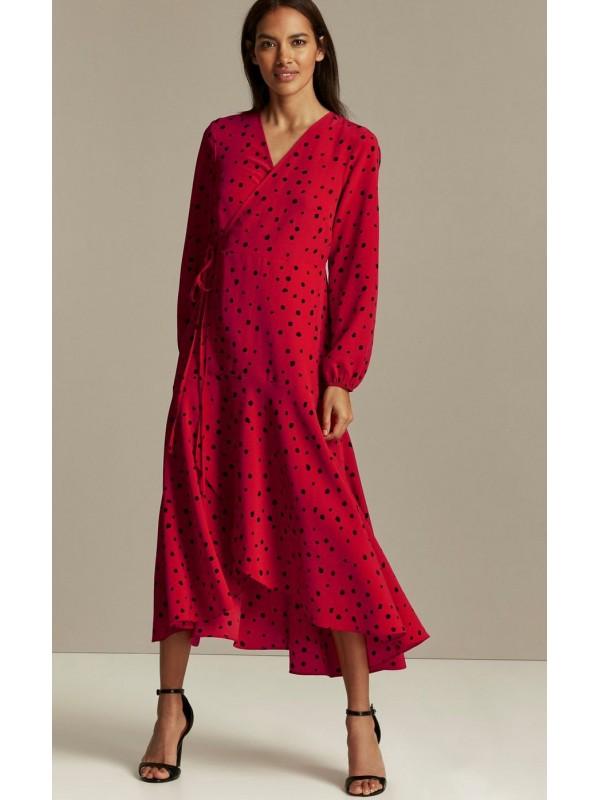 PETITE coral dot print sheath dress