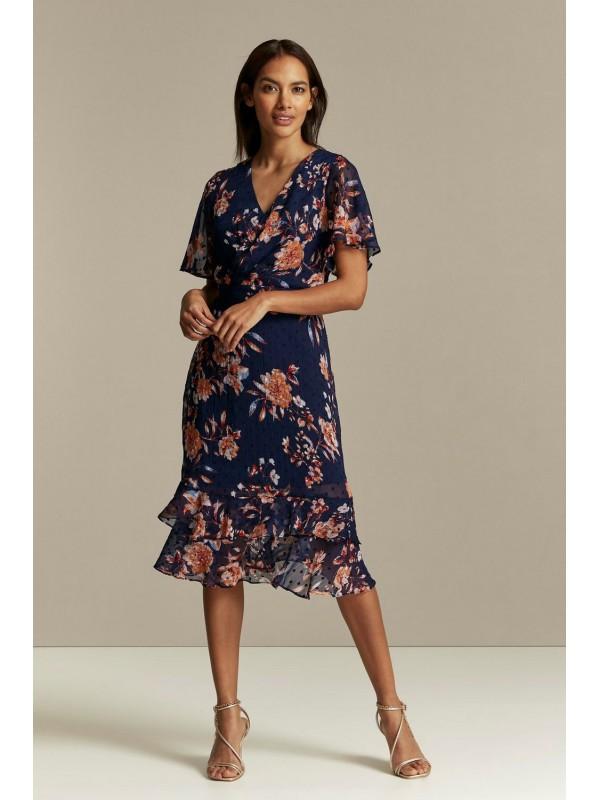 PETITE dark blue embroidered dobby dress.