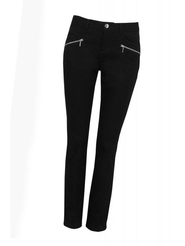 Small black zipper detail trousers