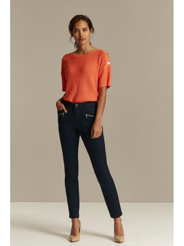 Dark blue zipper detail trousers