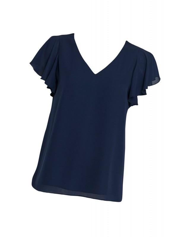 Dark blue ruffled sleeve blouse