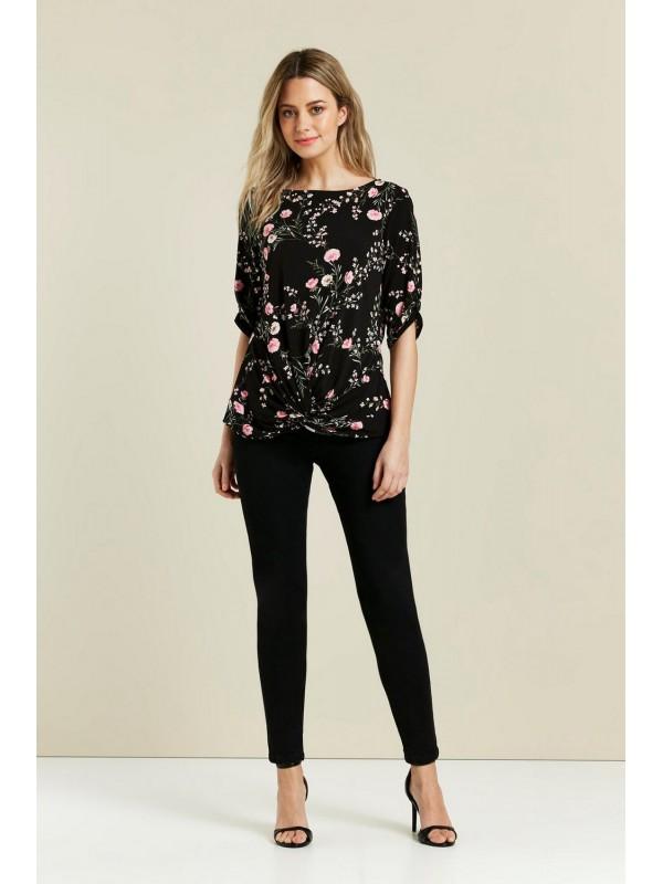 Petite black floral front blouse.