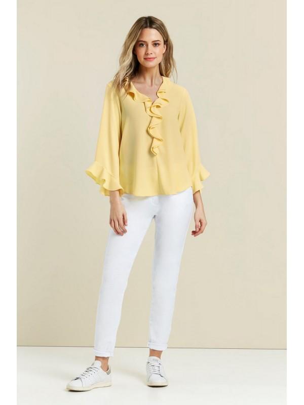 PETITE lemon front blouse