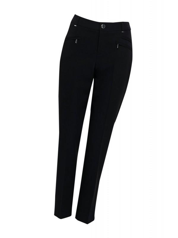 Petite black zipper detail tapered trousers.
