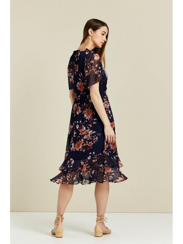 Navy print dobby dress