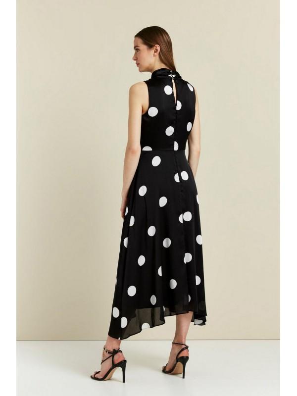 Black polka dot keyhole dress