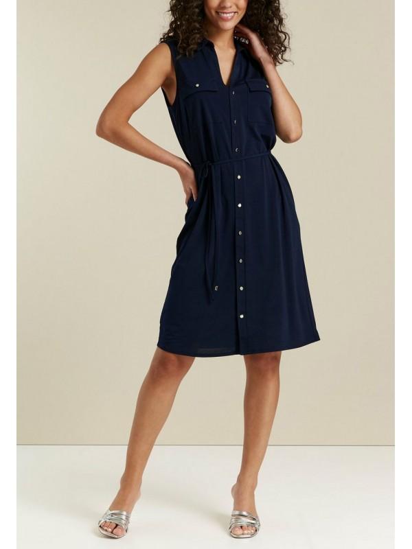 A dark blue button-down shirt dress