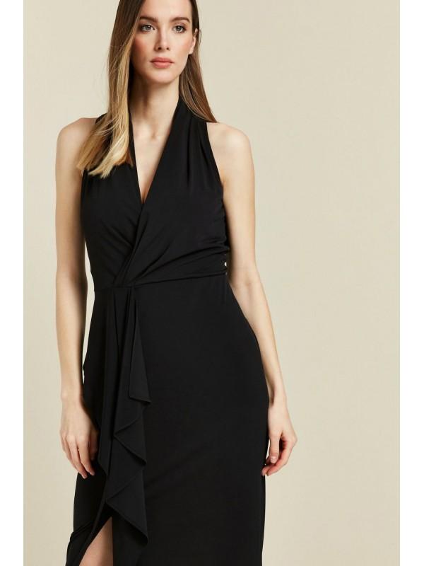 A black dress with a trailing neckline