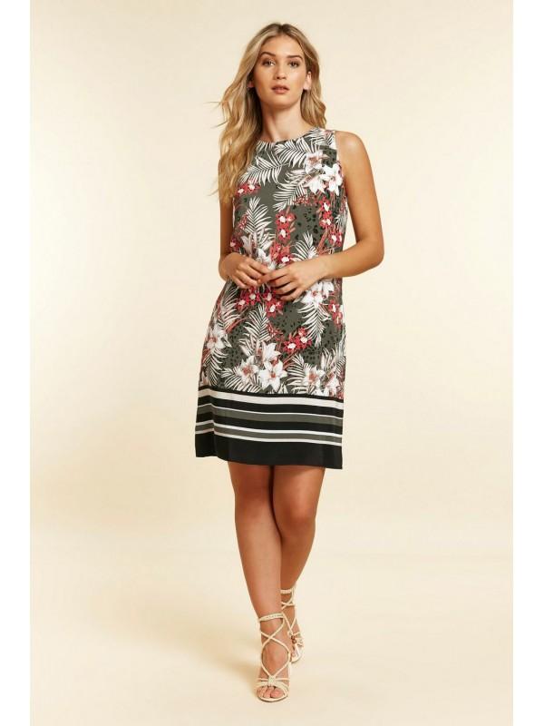 Khaki leaf print dress