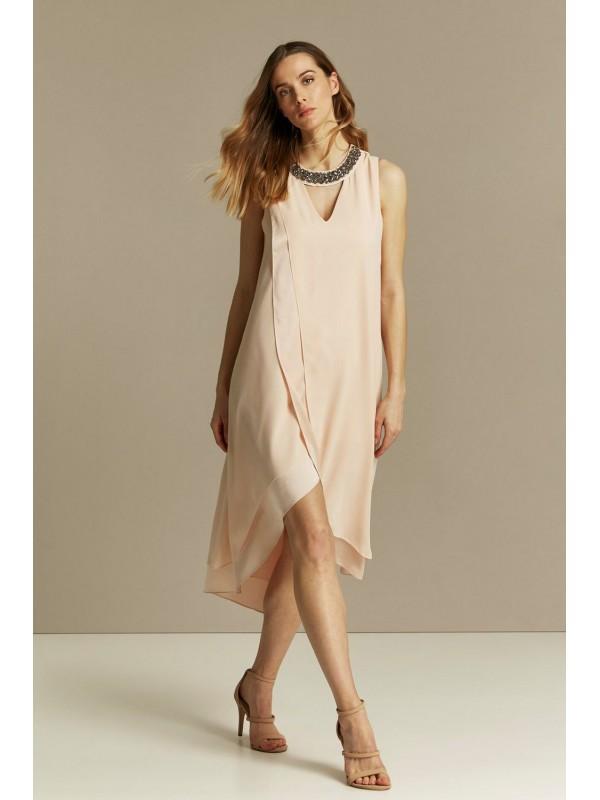 Blush embellishment overlay dress