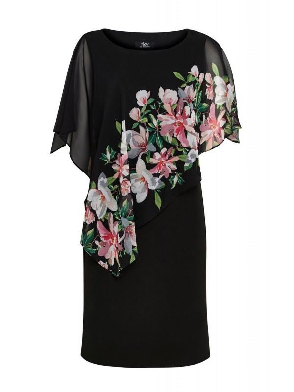 Black pattern transparent overlay dress