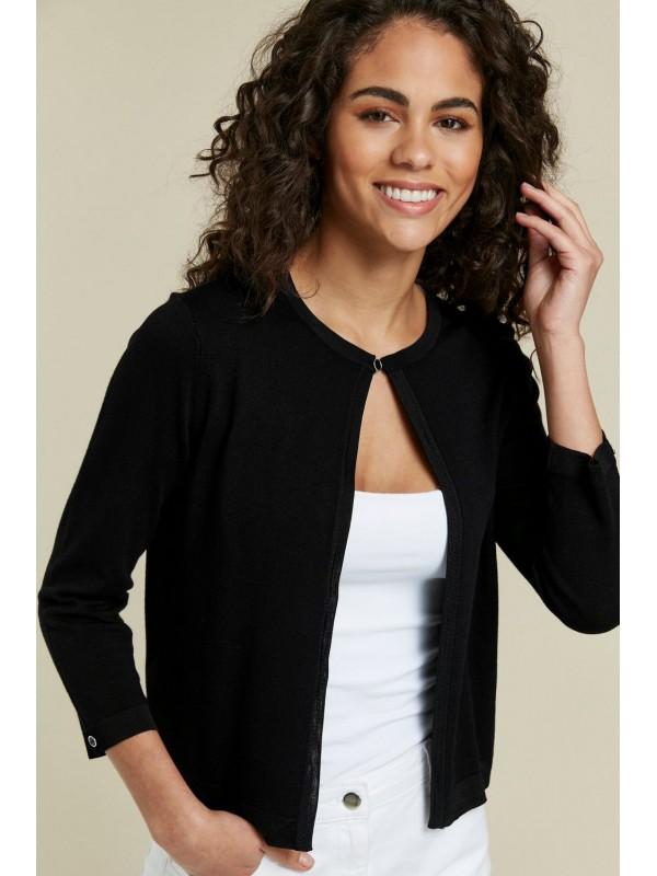 Dark-buttoned shoulder cardigan