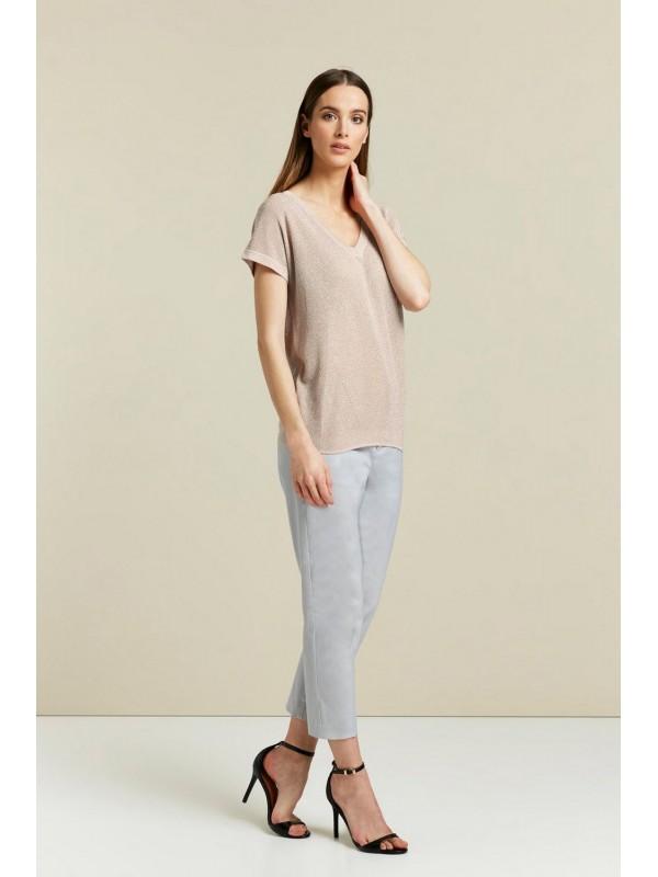 Blush shimmer v-neck blouse
