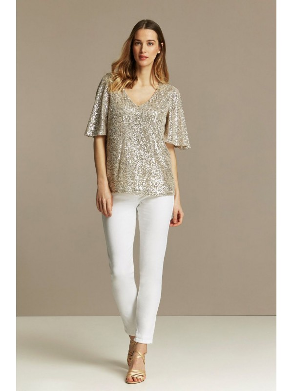 Light white sequined angel sleeve top