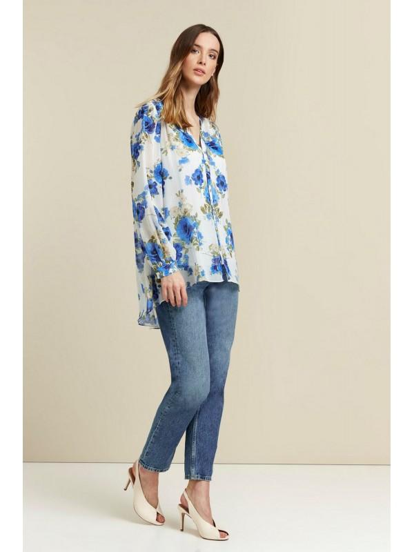 Cream pattern shimmer shirt