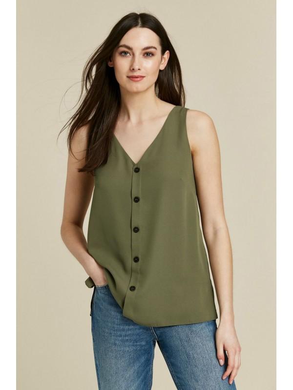 Khaki button-down shirt