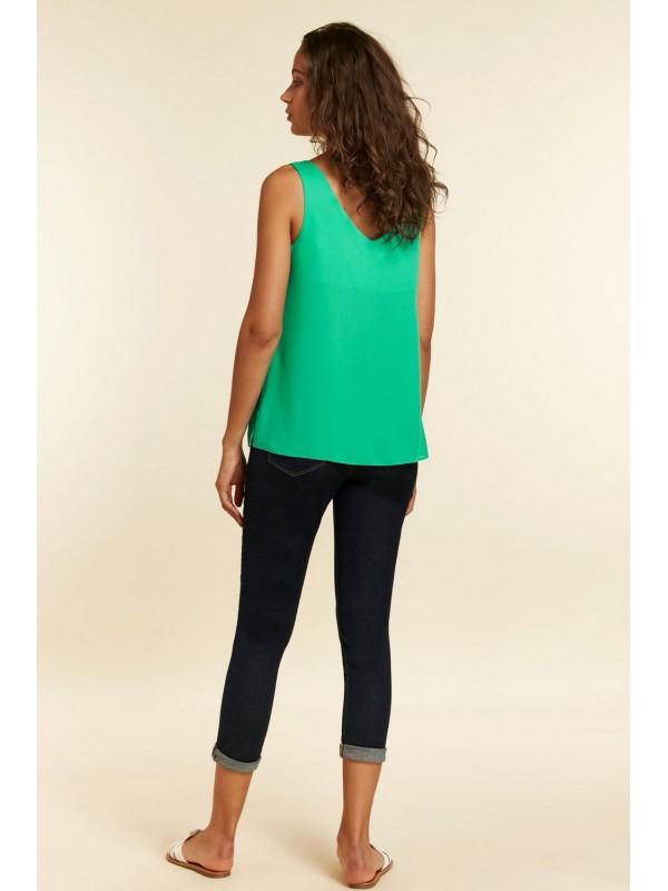Light green button halter vest