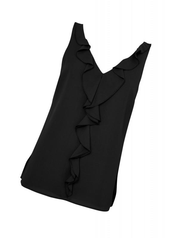 Black flounced tank top