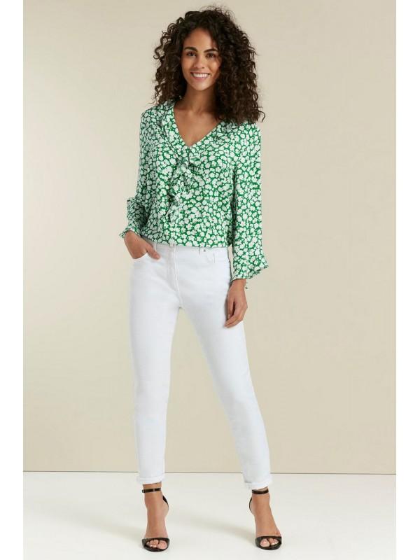 Green flounce jacket