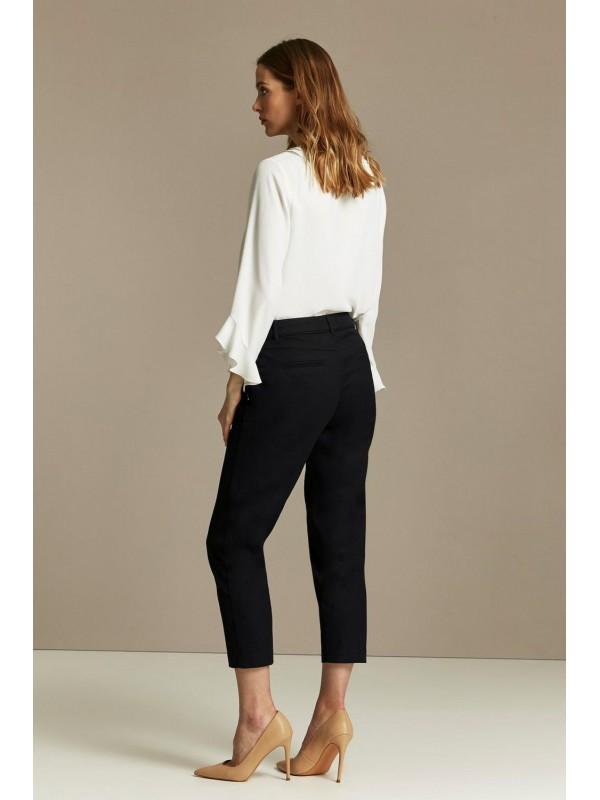 Black cut zipper detail trousers