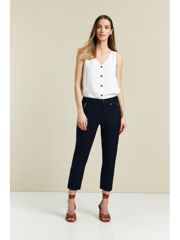 Navy cut zipper detail trousers