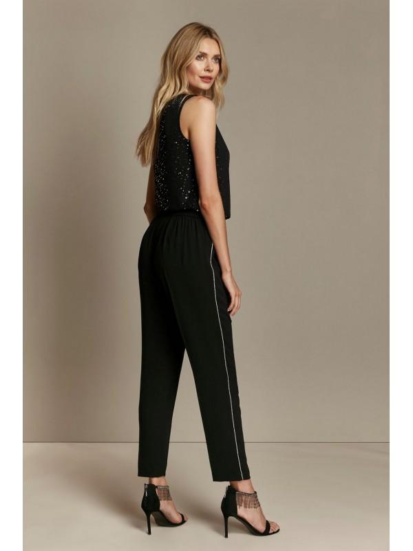 Dark embellished tapered pants